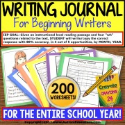 "WRITING JOURNAL ""Wh"" Prompts and DATA BUNDLE For Special Education and Autism"