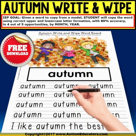 AUTUMN Write and Wipe FINE MOTOR Vocabulary for Special Education FREE DOWNLOAD