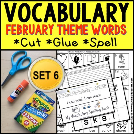 FEBRUARY Vocabulary and Fine Motor MONTHLY Worksheets for Special Education