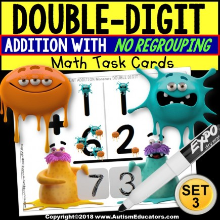 """TOUCH POINT Double Digit Addition TASK CARDS Monster Theme """"Task Box Filler"""""""