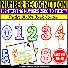 NUMBER RECOGNITION Task Cards TASK BOX FILLER - Special Education Resource