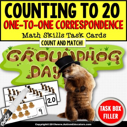 GROUNDHOG DAY One To One Correspondence Task Cards TASK BOX FILLER