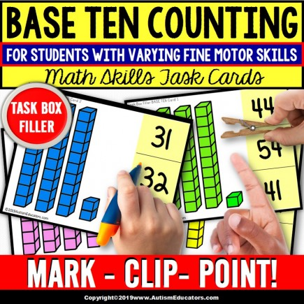 BASE TEN Place Value Task Cards TASK BOX FILLER - Special Education Resource