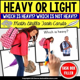 HEAVY or LIGHT - Math Skills Task Cards - TASK BOX FILLER - Special Education