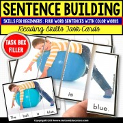 SENTENCE BUILDING with Pictures Task Cards READING STRATEGIES Task Box Filler