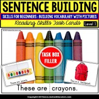 "SENTENCE BUILDING with SCHOOL OBJECTS Task Cards ""Task Box Filler"""