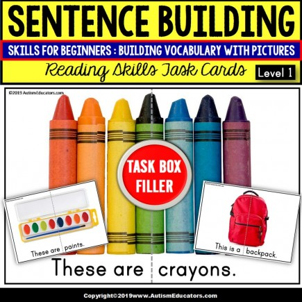 """SENTENCE BUILDING with SCHOOL OBJECTS Task Cards """"Task Box Filler"""""""