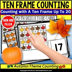 "TEN FRAME Counting AUTUMN THEME Task Cards ""Task Box Filler"" Task Box for Autism"