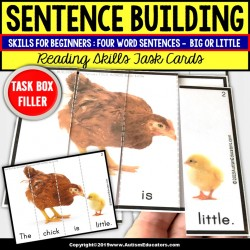 "SENTENCE BUILDING with Pictures Task Cards READING Big/Little ""Task Box Filler"""