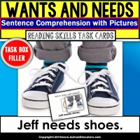 """WANTS and NEEDS Sentence Comprehension Task Cards """"Task Box Filler"""" for Autism"""