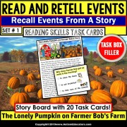 READING COMPREHENSION Read and Retell Details/Events Task Cards TASK BOX FILLER