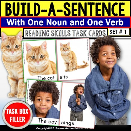"""SENTENCE BUILDING with Picture Nouns and Verbs Task Cards """"Task Box Filler"""""""