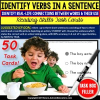 IDENTIFY VERBS Using Real Life Connections Task Cards Task Box Filler