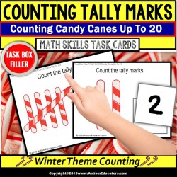 TALLY MARKS with Candy Canes Task Cards Task Box Filler for Special Education