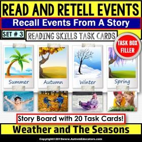 "READING COMPREHENSION Task Cards Read/Retell Details SEASONS ""Task Box Filler"""