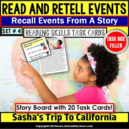 READING COMPREHENSION Task Cards Read/Retell Details NON-FICTION Task Box Filler
