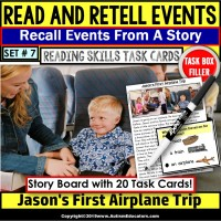 READING COMPREHENSION Read/Retell Details AIRPLANE TRIP Task Box Filler Set#7