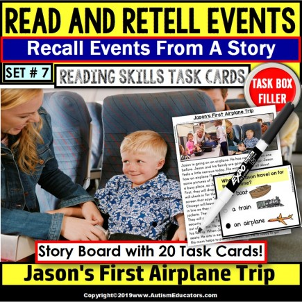 READING COMPREHENSION Read/Retell Details AIRPLANE TRIP Task Box Filler Set#7