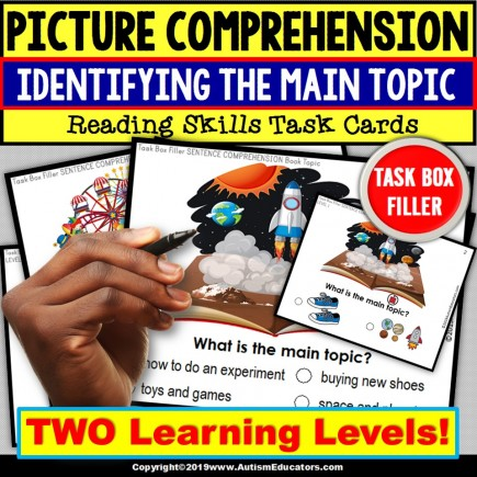 MAIN TOPIC Task Cards - TASK BOX FILLER - Special Education and Autism Resource