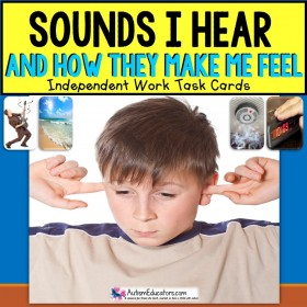SOCIAL SKILLS Task Cards SOUNDS and HOW THEY MAKE ME FEEL for Autism TASK BOX FILLER