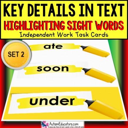 SIGHT WORDS Task Cards KEY DETAILS WITHIN TEXT Task Box Filler Set 2