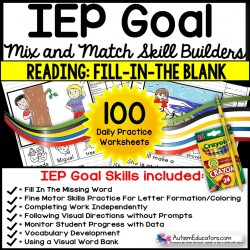 READING COMPREHENSION IEP Skill Builder FILL-IN-THE-BLANK WORKSHEETS for Autism