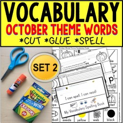 OCTOBER Vocabulary and Fine Motor MONTHLY Worksheets for Special Education