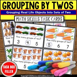 Counting by Twos | Grouping By 2s with Objects TASK CARDS | Task Box Filler