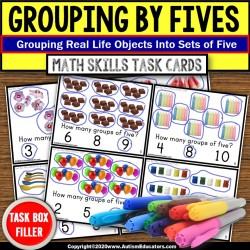 Skip Counting by 5s | Grouping by 5 Objects TASK CARDS | Task Box Filler