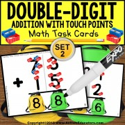 TOUCH POINT Double Digit Addition W/O REGROUPING TASK CARDS Task Box Filler