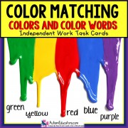 COLORS and COLOR WORDS Task Cards TASK BOX FILLER