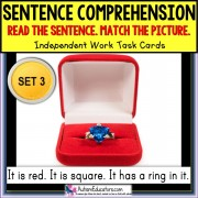 SENTENCE COMPREHENSION Reading Task Cards for Autism and Special Needs SET 3 TASK BOX FILLER