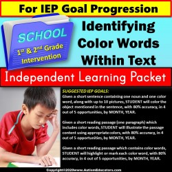 Independent Learning Packet for Special Education | Identify Color Words in Text