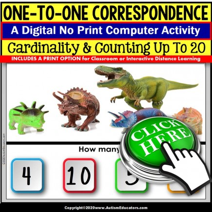 One To One Correspondence to 20 NO PRINT Digital Resource SPECIAL EDUCATION Dinosaurs