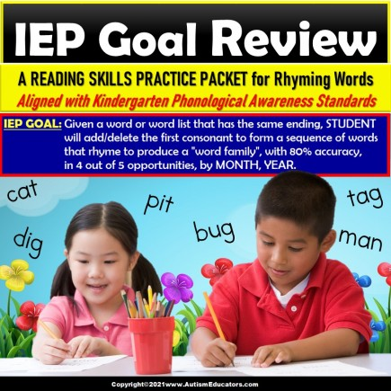 Rhyming Words Review Packet for IEP Goals for Special Education and Autism