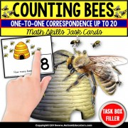 "ONE-TO-ONE CORRESPONDENCE Counting Bees Task Cards ""Task Box Filler"" for Autism"