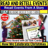 READING COMPREHENSION Read/Retell Details CELEBRATE CHRISTMAS Task Box Filler