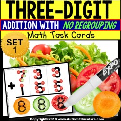 TOUCH POINT Three Digit Addition NO REGROUPING TASK CARDS Task Box Filler