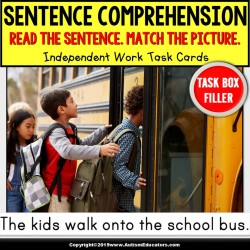 "SENTENCE COMPREHENSION Getting Ready For School Task Cards ""Task Box Filler"""
