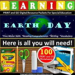 PRINT and GO EARTH DAY Reading and Fine Motor Packet for Special Education