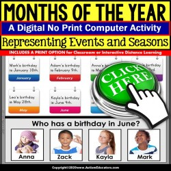 Calendar Skills Months and Days Events Digital Resource for Special Education