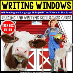 """WH"" Who or What Nouns FARM for READING and WRITING Intervention Task Box Filler"