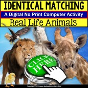 Special Education Distance Learning | Matching IDENTICAL Animals | NO PRINT