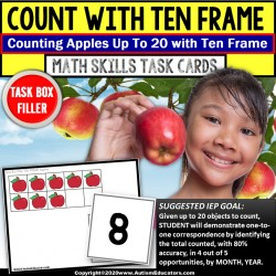 Ten Frame Task Cards Up To 20 TASK BOX FILLER for Special Education - APPLES