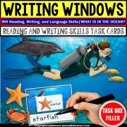 WH Writing Prompts | Writing OCEAN Vocabulary Task Box Filler | Autism Task Box