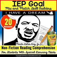 Martin Luther King, Jr. READING COMPREHENSION IEP Skill Builder NON-FICTION WORKSHEETS for Autism and Special Education