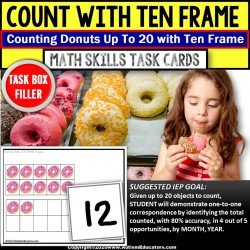 Ten Frame Task Cards Up To 20 TASK BOX FILLER for Special Education - DONUTS