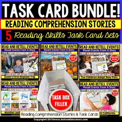 Reading Comprehension Task Cards READ and RETELL Bundle for Special Education