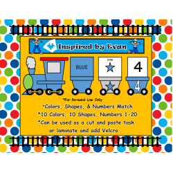 Trains Colors, Shapes, and Numbers Match for Autism