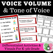 Voice Volume and Tone of Voice {Differentiated Activities and Visuals For K-5th Grade}